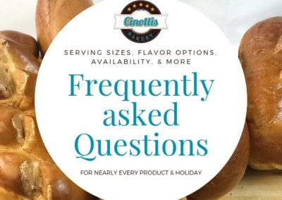 Frequently Asked Questions, FAQ, Cinottis Bakery, jacksonville Beach, Bakeries in Florida